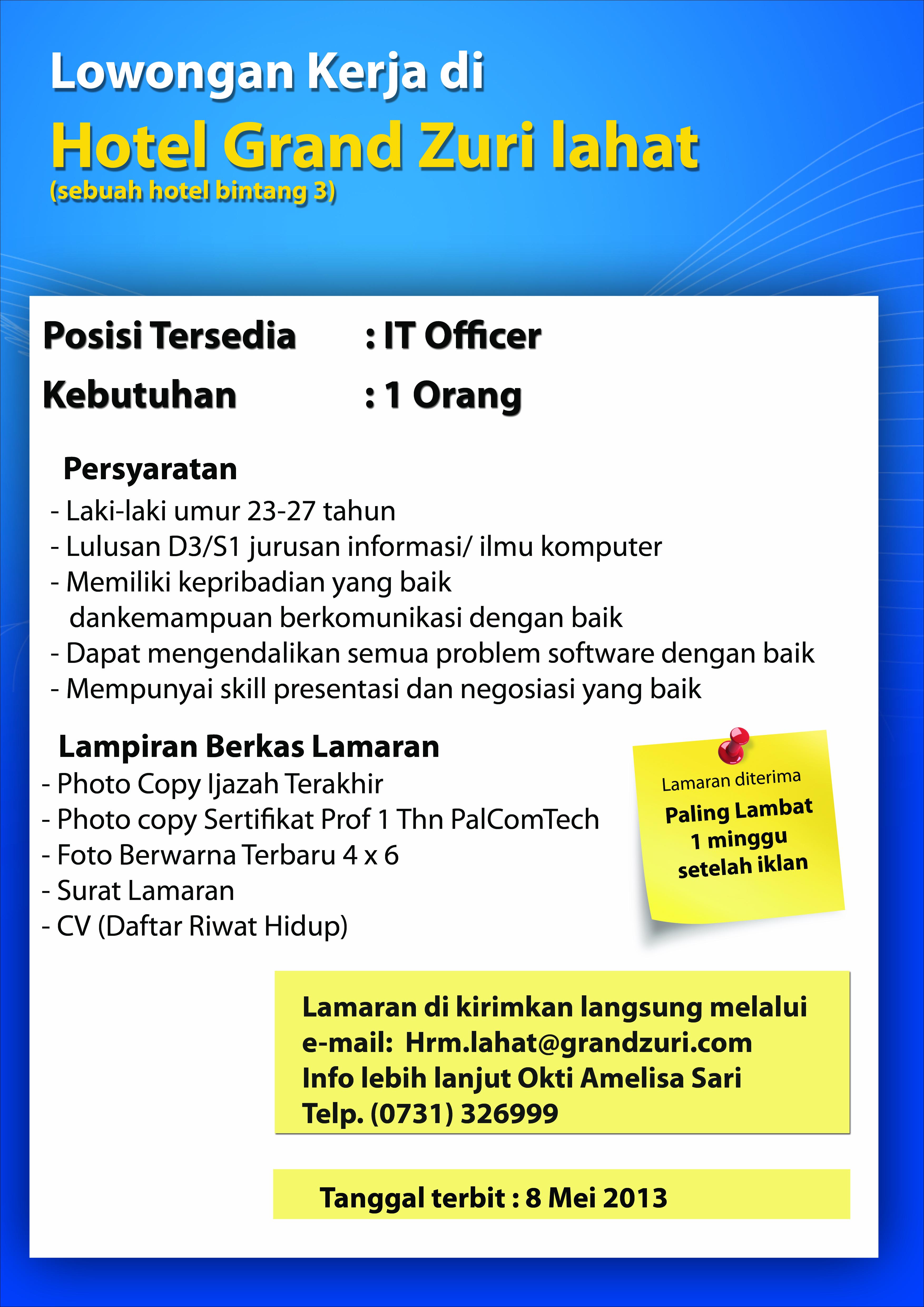 Lowongan Hotel Grand Zuri Lahat - Karir PalComTech